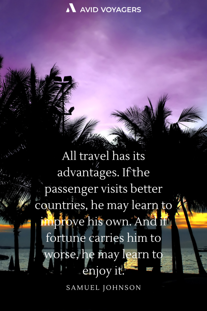 All travel has its advantages. If the passenger visits better countries he may learn to improve his own. And if fortune carries him to worse he may learn to enjoy it. Samuel Johnson