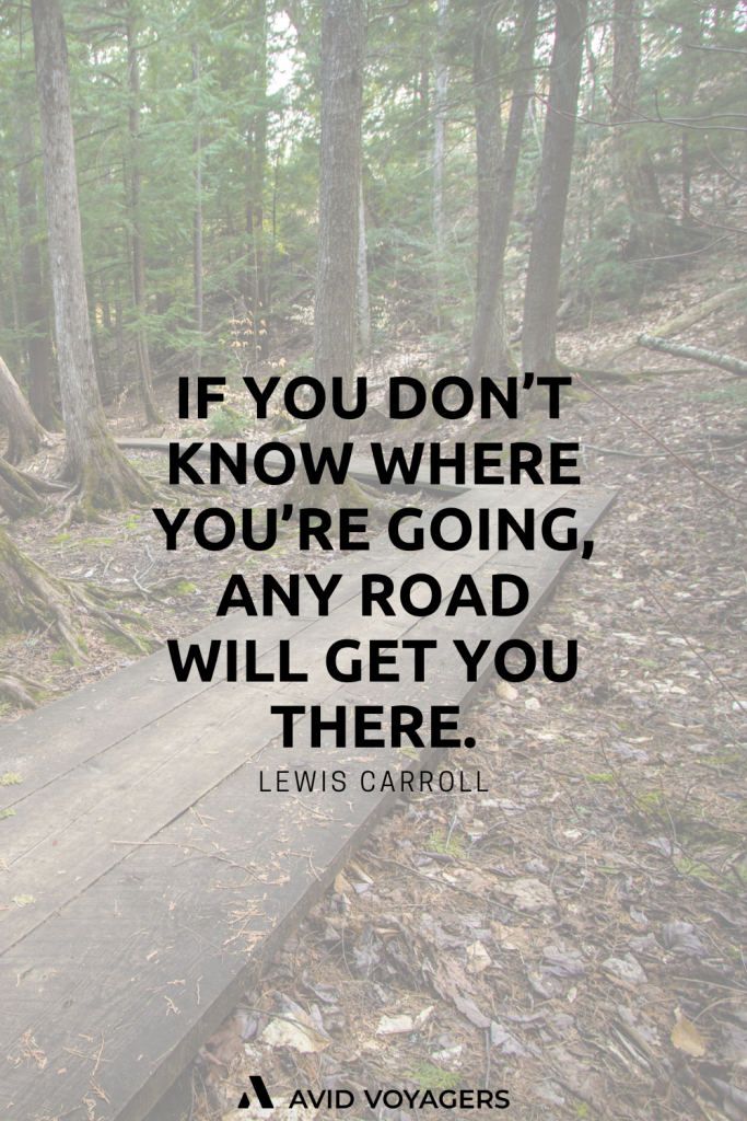 If you dont know where youre going any road will get you there. Lewis Carroll
