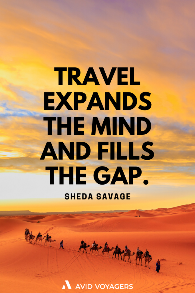 Travel expands the mind and fills the gap. Sheda Savage