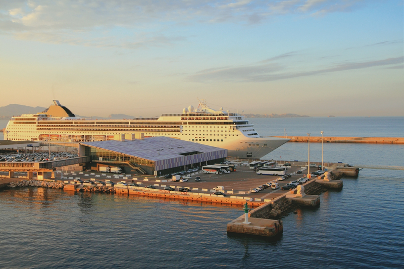 Cruise terminal and liner on parking.